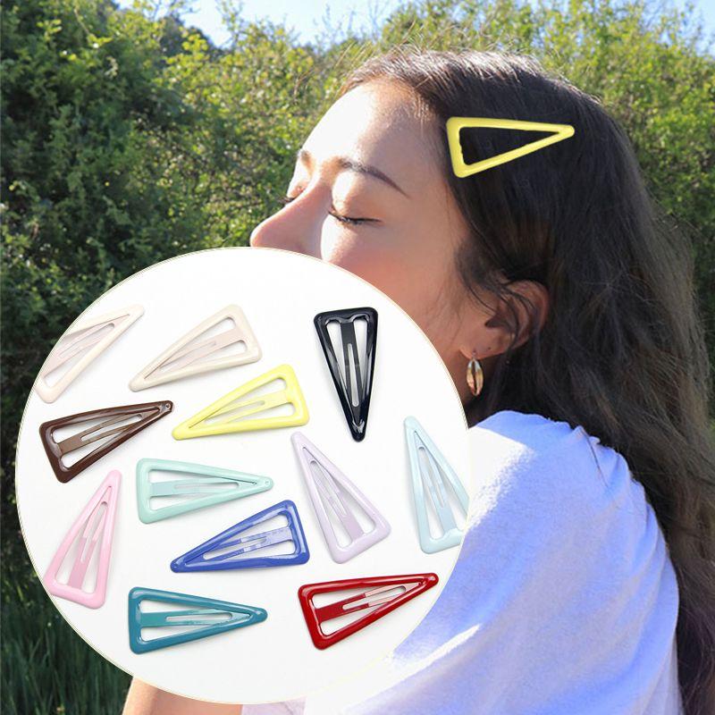 1PCS Schöne Cartoon Dreieck Typ Metall Candy Farbe Mädchen Haarnadeln Haar Clip Kinder Headwear Kinder Zubehör Baby BB Clips