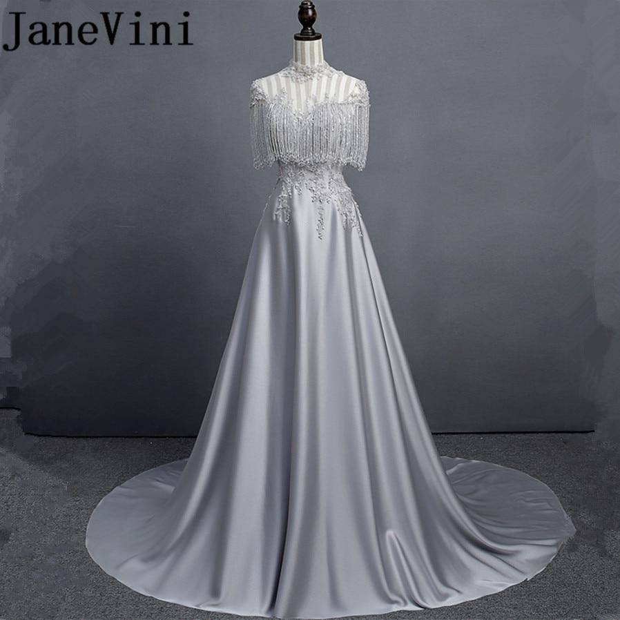 JaneVini-Vestidos largos de satén para madre de la novia, lujoso, con lentejuelas y cuentas, tren de barrido, nuevo diseño, 2018