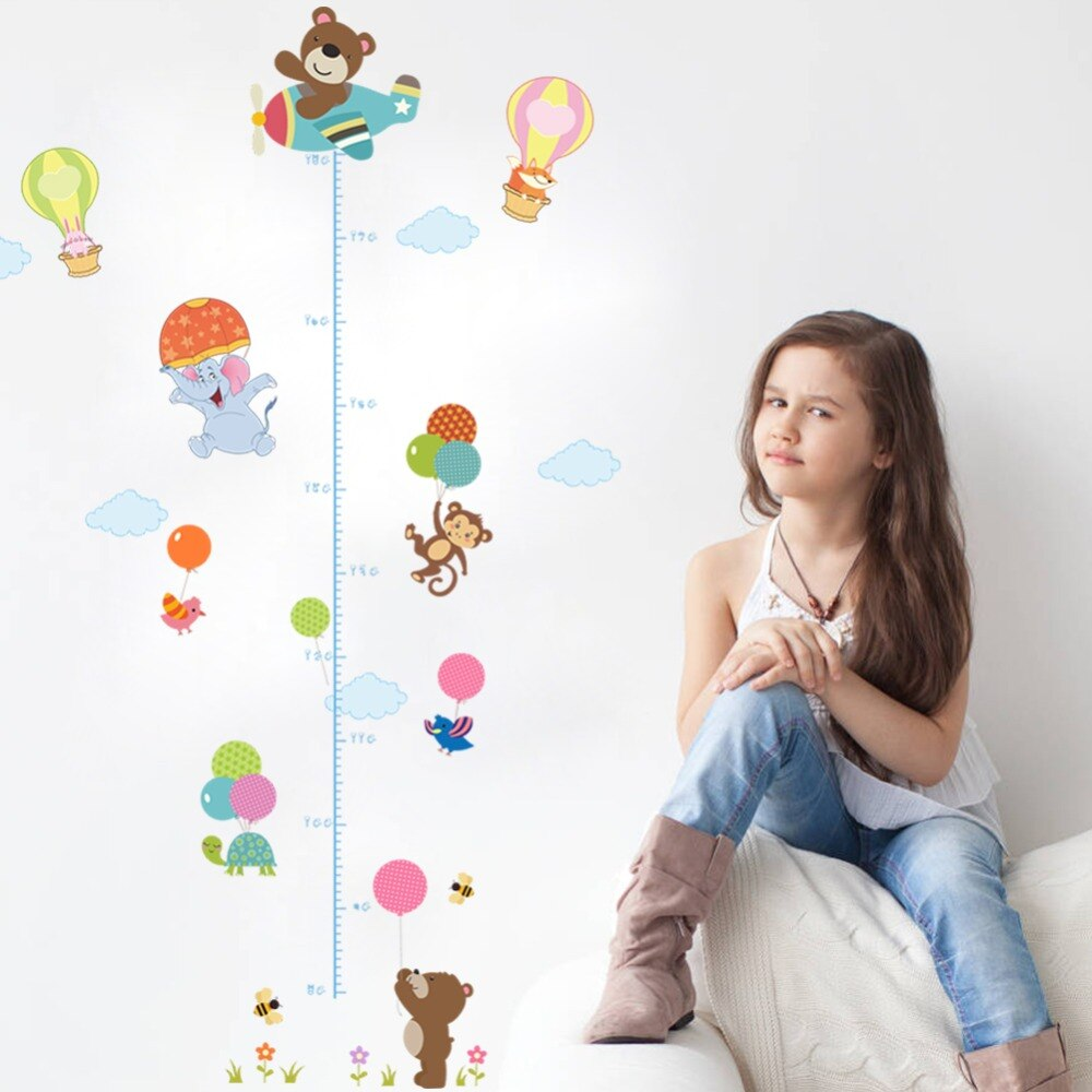 % Animales oso mono aire caliente globo altura medida pared pegatinas calcomanía niños papel pintado mural bebé niña habitación infantil decoración