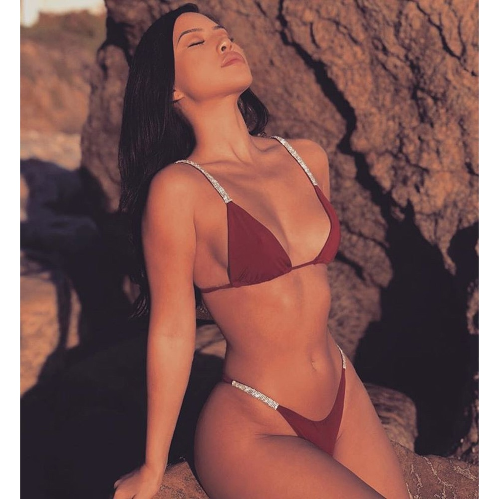 NAVSEGDA 2019 traje de baño de tres puntos para mujeres Sexy sólido brasileño Tanga Bikini traje de baño ropa de playa de verano Biquini