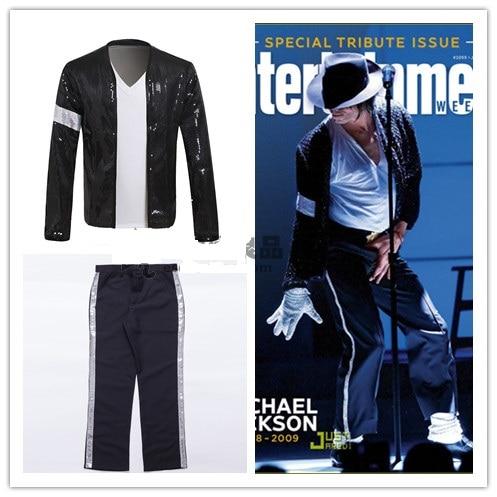 Michael Jackson Cosplay Costume Billie Jean Suits Sequin Kids Adults MJ Jacket+Pants Show Black Color