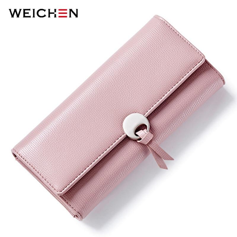 WEICHEN Geometric Women Clutch Wallets Leather Long Hasp Large Capacity Card Holder Pocket Female Wallet Fashion Lady Purse