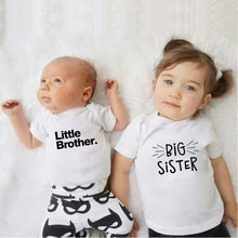 Summer Big Sister Little Brother Family Look Toddler Kids Baby Boys Little Brother Romper Girls Big