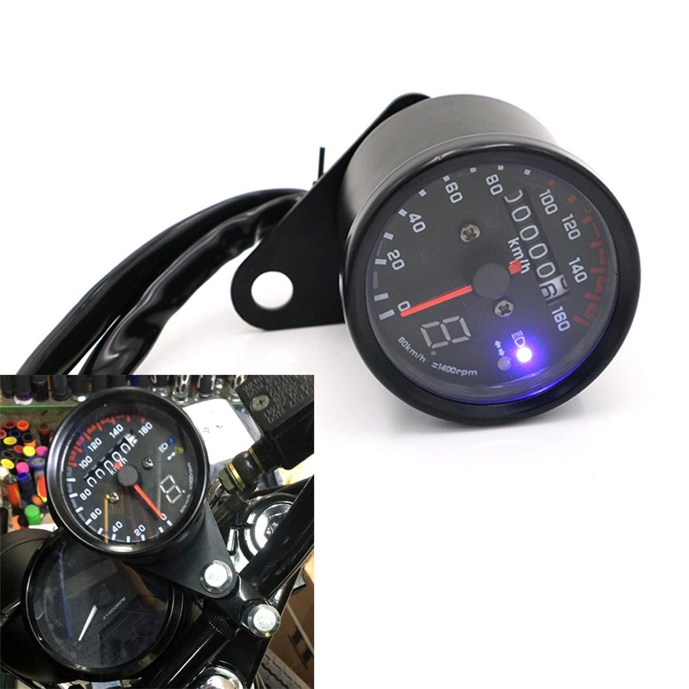 Tacómetro Universal para motocicleta de 12V CC con Medidor de velocidad dual de engranaje de retroiluminación LED con indicador LED de 2 colores
