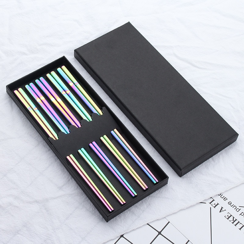 Juego de 5 pares de palillos japoneses de acero inoxidable para Sushi con caja de regalo, palillo chino negro para picar, vajilla, utensilios de cocina