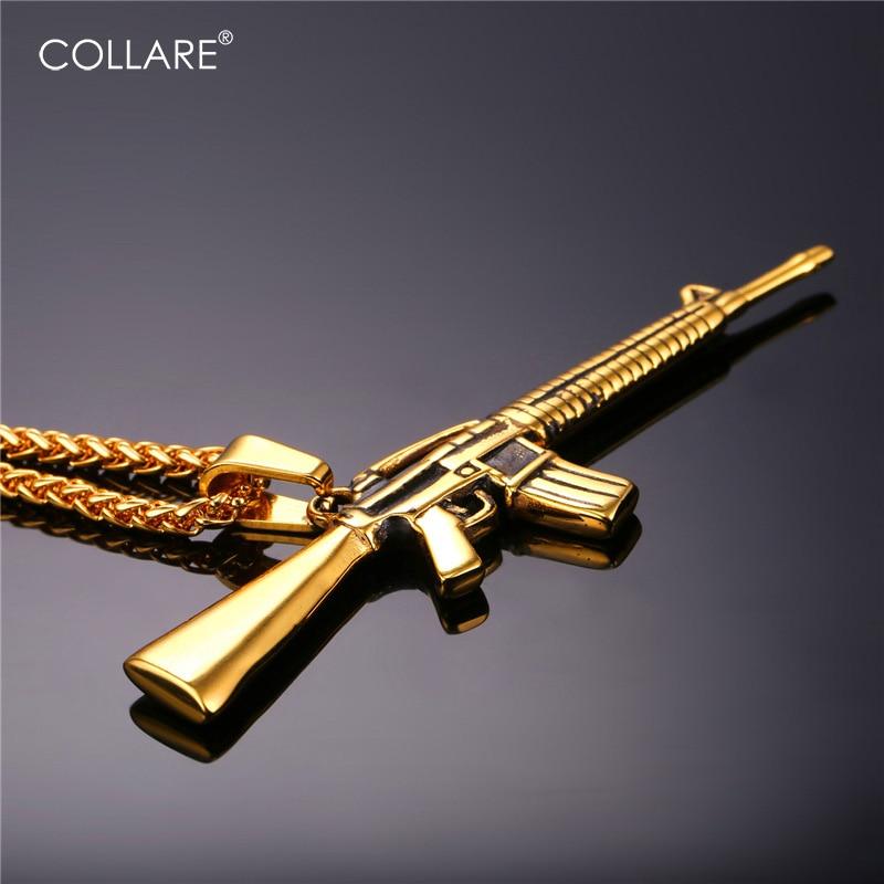 Collare M16 винтовочный пистолет кулон 316L нержавеющая сталь золотой цвет хиппи мужские военные украшения мужское армейское ожерелье P176