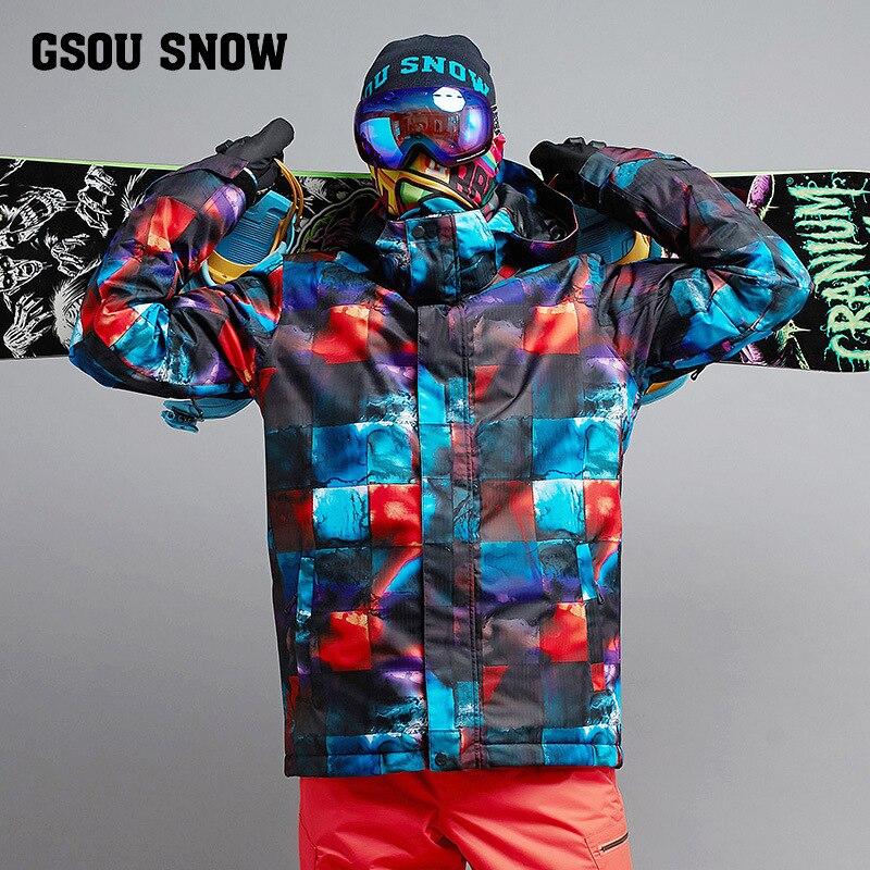 Gsou Neve Esqui Terno Masculino Inverno Única Dupla Placa de Esqui Jaqueta De Esqui Desgaste À Prova de Vento Quente À Prova D Água Para Os Homens