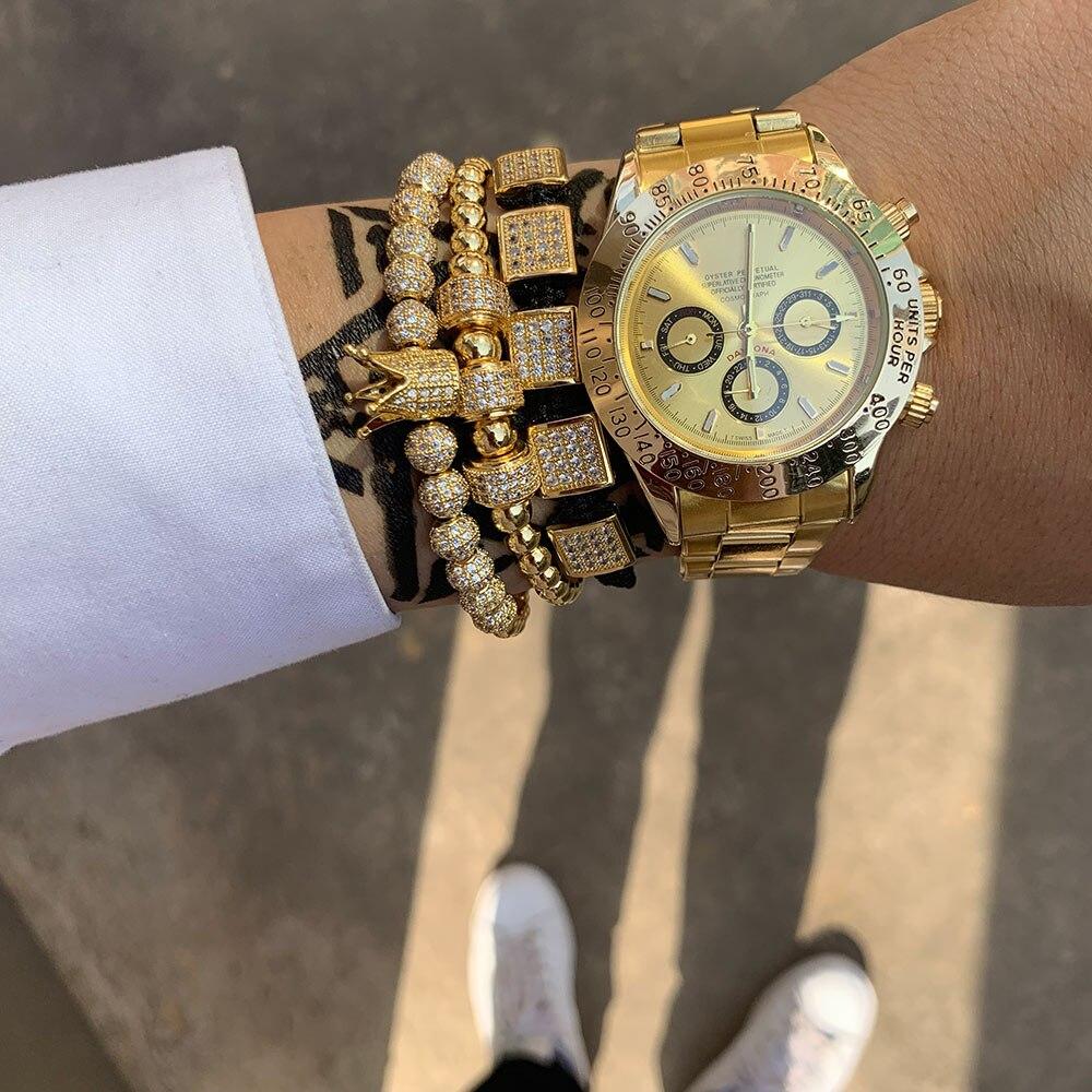 3 pièces/ensemble de luxe CZ carré boule breloques cuivre perle macramé fait à la main hommes couronne Bracelets ensemble bracelets & Bracelets pour hommes bijoux