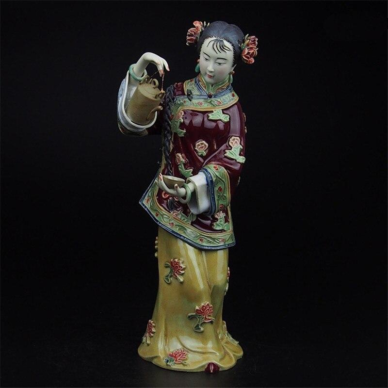 الكلاسيكية رسمت الفن الإناث الرقم تمثال السيراميك العتيقة الصينية الملائكة الخزف المنحوتات المنزل الديكور الداخلي