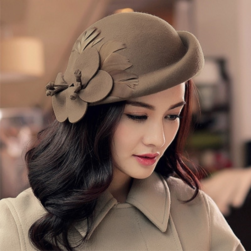 2021 Autumn and Winter Lady Party Formal 100% Wool Fedora Hats Women Flower Beret Caps Chic Felt Fascinator
