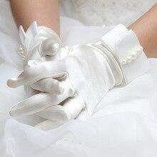 2018 chaud élégant blanc ivoire soie Satin doigt court gants de mariée accessoires de robe de mariée longueur de poignet perles gants livraison directe