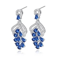 bluepink zirconia sparkling jewelry white gold filled wedding womens dangle earrings