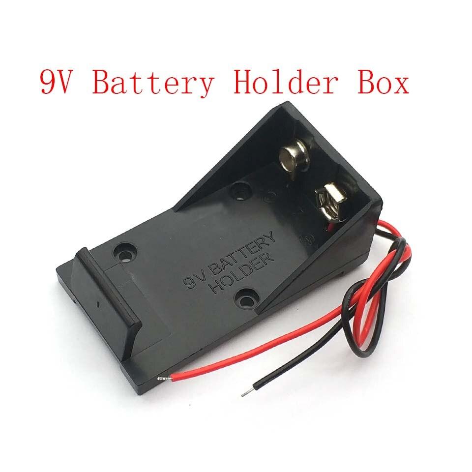 Soporte con Clip para batería de 9V, caja con cables de alambre DIY