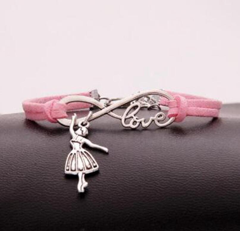 1 unids/lote colgante de pulsera de amor de la suerte 8 baile infinito/bailarina chica colgante de pulsera mujeres/hombres pulseras simples/brazaletes