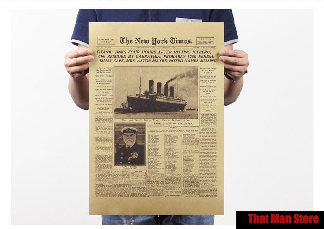, New York times Titanic/papel kraft/póster para bar/póster Retro/pintura decorativa 42X30CM