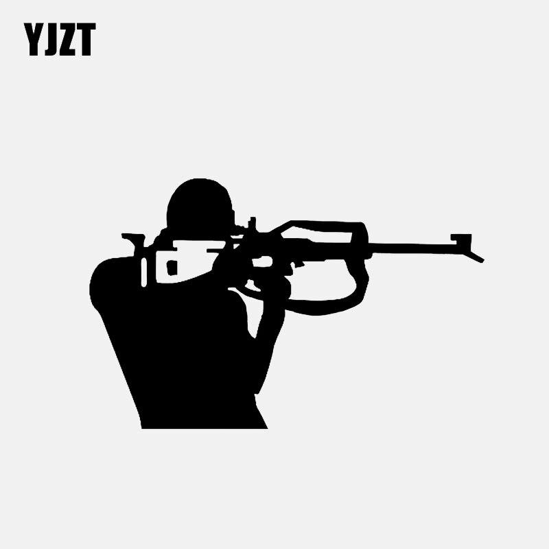 YJZT 10.9*6.9CM Interesting Sports Country Ski Race Rifle Decor Car Modelling Sticker Vinyl Graphic C12-1537