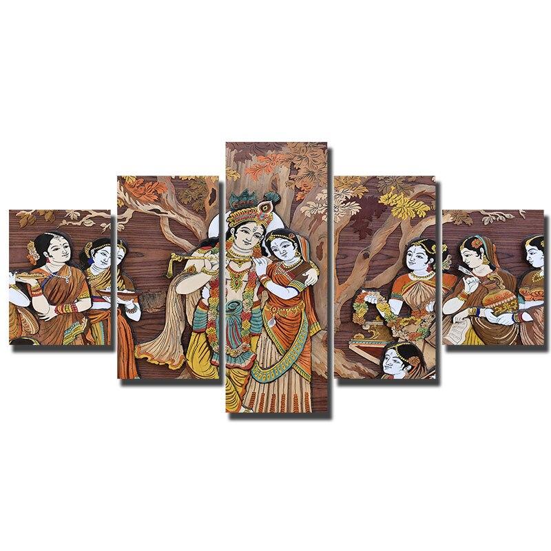Artryst Gerahmte Wandkunst Leinwand Wohnzimmer HD Drucke Poster 5 stück Krishna & Radha Unter Dem Baum Malerei Hauptdekorum WY130