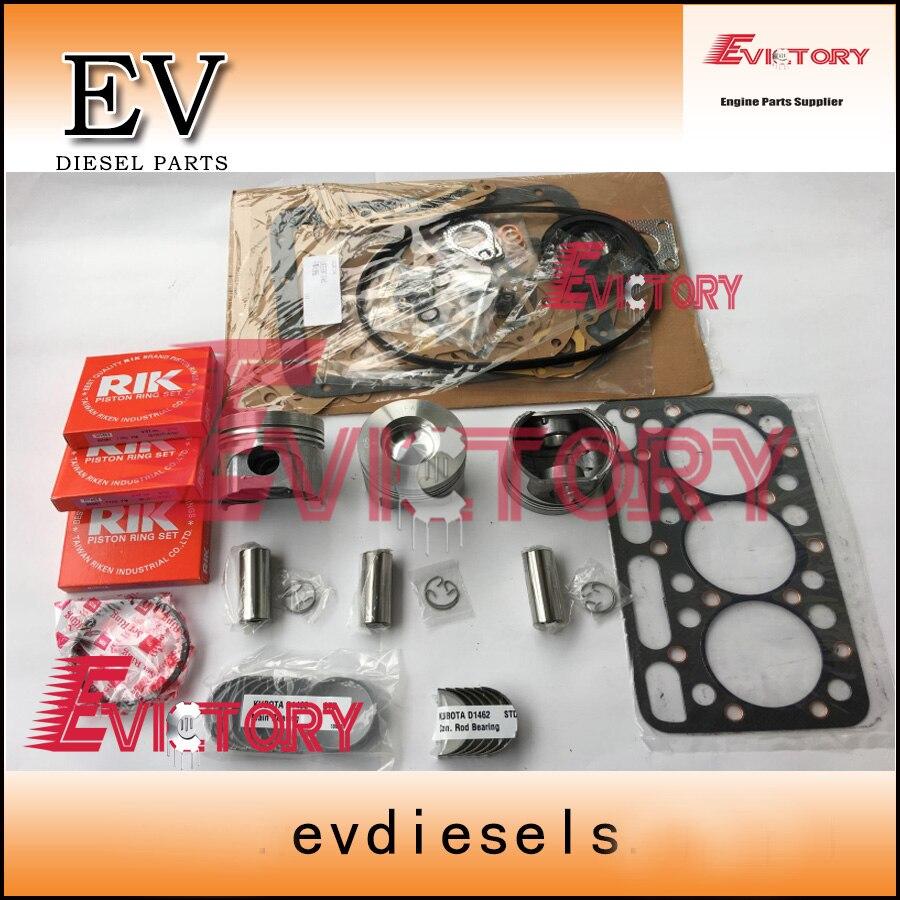 EV Kubota D1462 pistón + anillo tapa de cilindros completa cojinete de motor para L2202 ,L2402,KH91,KH66 tractor