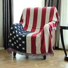 Couvertures en fil de coton drapeau américain   CHAUSUB couverture décorative de maison pour canapé, couvertures de Piano, couverture de lit, tapis, tapisserie, couvre-lit
