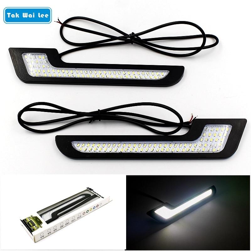 Tak Wai Lee 2X Luces De Circulación Diurna LED DRL estilo Super brillante impermeable Exterior Coche conducción vehículo luz de día con palo