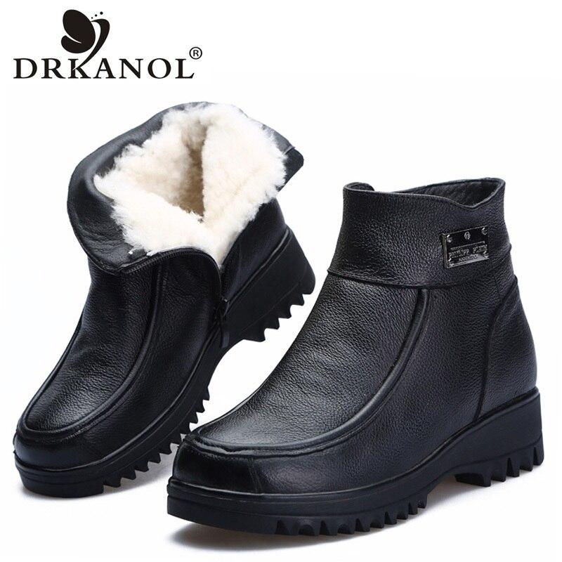 DRKANOL 2019 New Winter Ankle Boots Women Snow Boots Natural Wool Genuine Leather Wedge Platform Heel Zipper Warm Short Boots