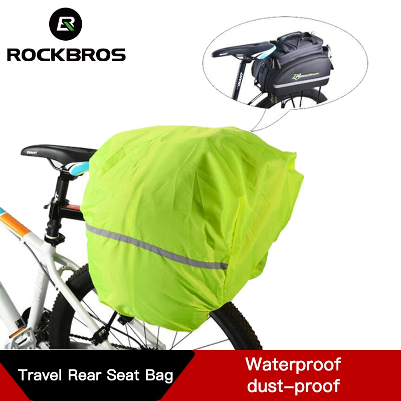 Mochila ROCKBROS reflectante para ciclismo, cubierta de lluvia para bolsa de bicicleta, cubiertas impermeables a prueba de polvo para montar en bicicleta, bolsa de asiento trasero