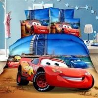 blue 3d mcqueen cars bedding set for kids bed cover bedroom decor single twin size coverlet boys duvet cover bed sheets children