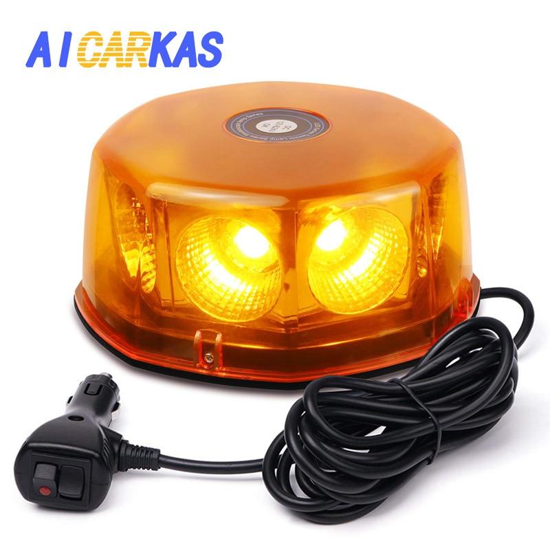 Aicarcas-مصباح سقف LED دائري COB 48 وات ، مصباح طوارئ LED ، ضوء وامض ، مصباح سقف للمركبات والشاحنات ، 12-24 فولت