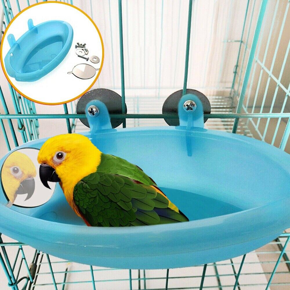 Bañera de agua para pájaros, jaula para loros y pájaros, Bol colgante, loros, suministros para mascotas, baño de aves, baño de ducha