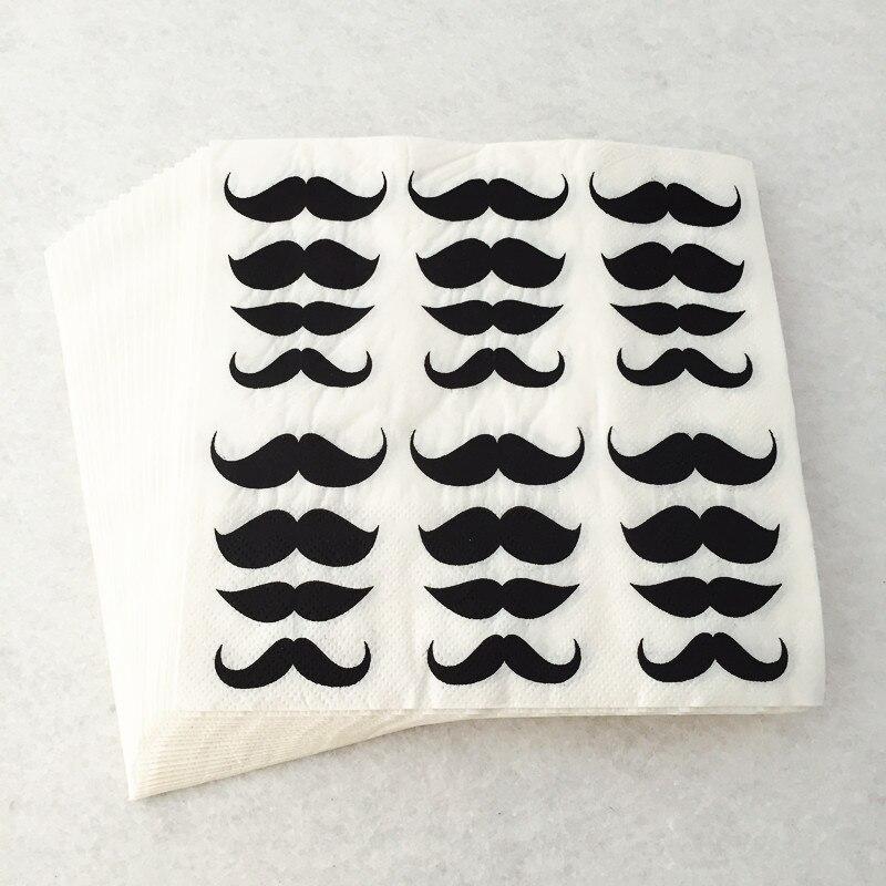 100 Uds. Servilletas desechables de papel con forma de bigote para niños, hombre suave, adornos fiestas, servilletas de fiesta de cumpleaños para Baby Shower