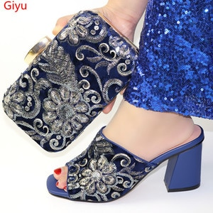 doershow fashion D.blue Italian Shoes With Matching Bag High Quality Italy Shoe And Bag set For wedding and party!HBC1-4