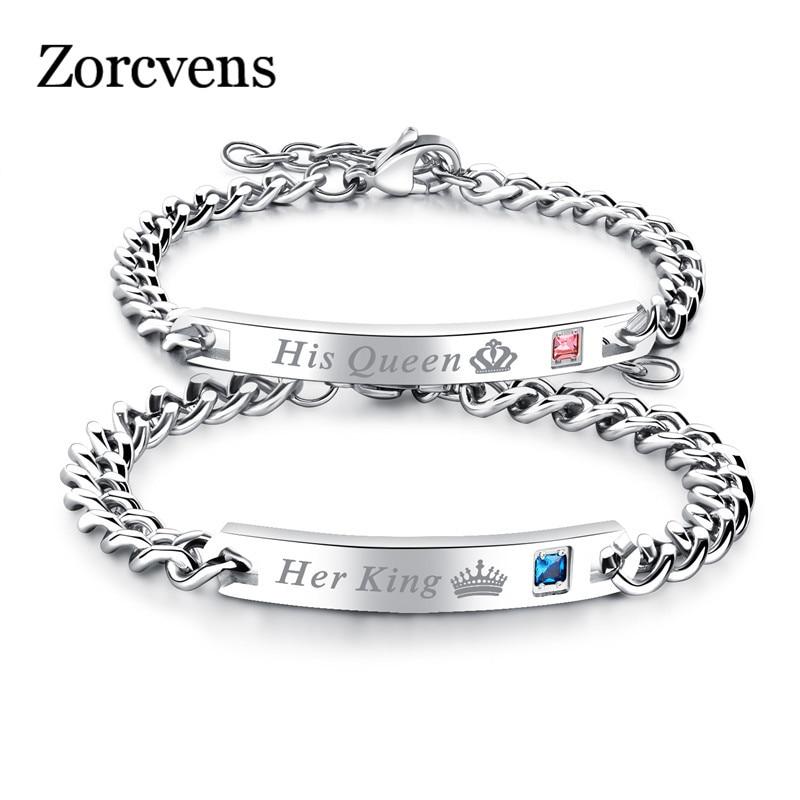 Pulseiras de rei de zorcvens, pulseiras de casal com pedra crytal, namorado, namorado, joias