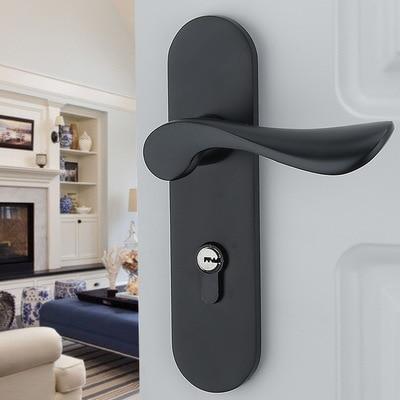 Black solid space aluminum door locks Continental bedroom minimalist interior door handle lock cylinder security locks Packages