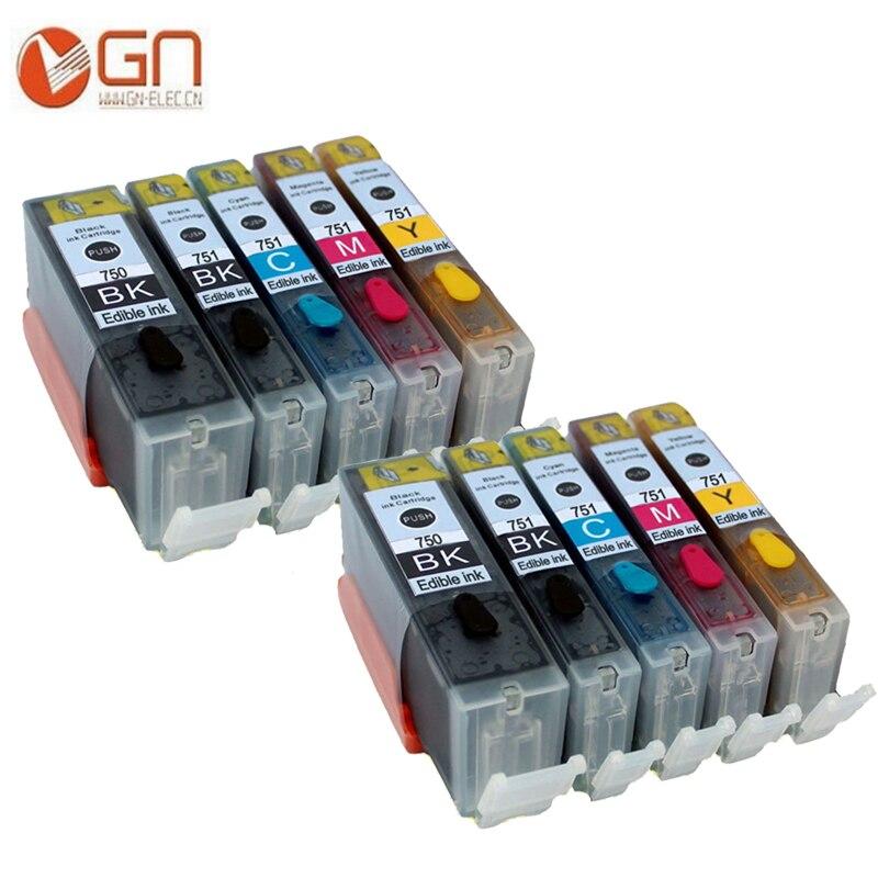 GN 10 Uds PGI 750 750XL CLI 751 751XL cartuchos de tinta comestible para canon Pixma PIXMA IP7220 IP7230 MG5430 MX923 IP7250 IP7230 MG5450