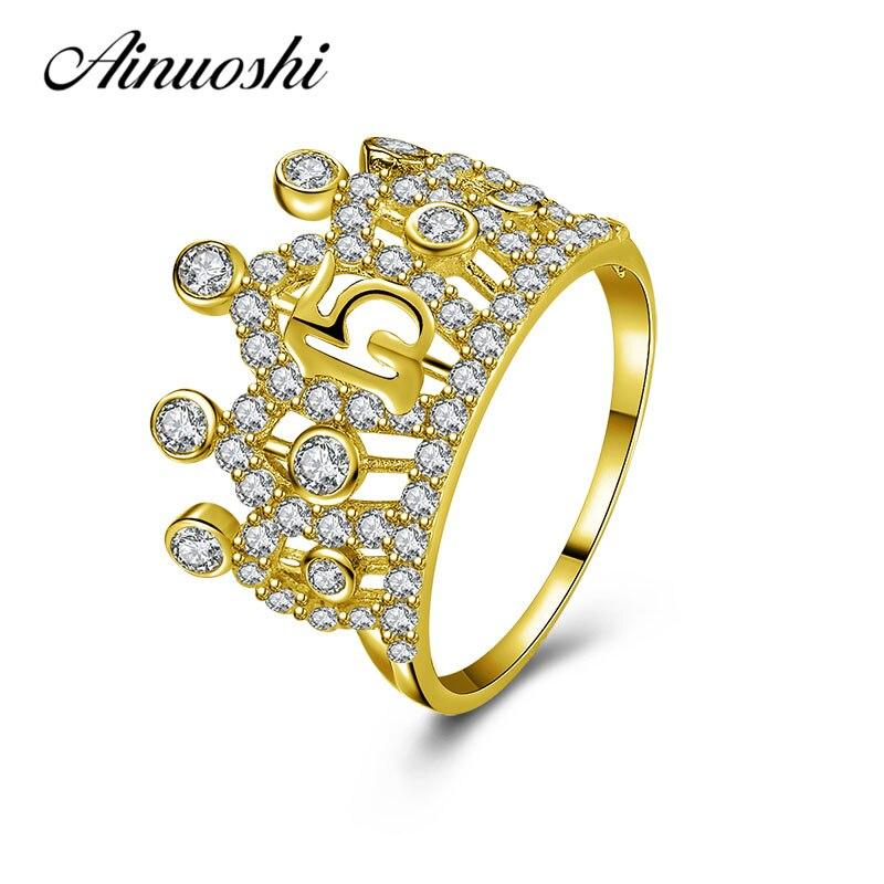 Anillo de la corona del 15 ° aniversario de boda de AINUOSHI 14 K oro amarillo sólido SONA anillo de boda de diamante simulado para joyería de las mujeres