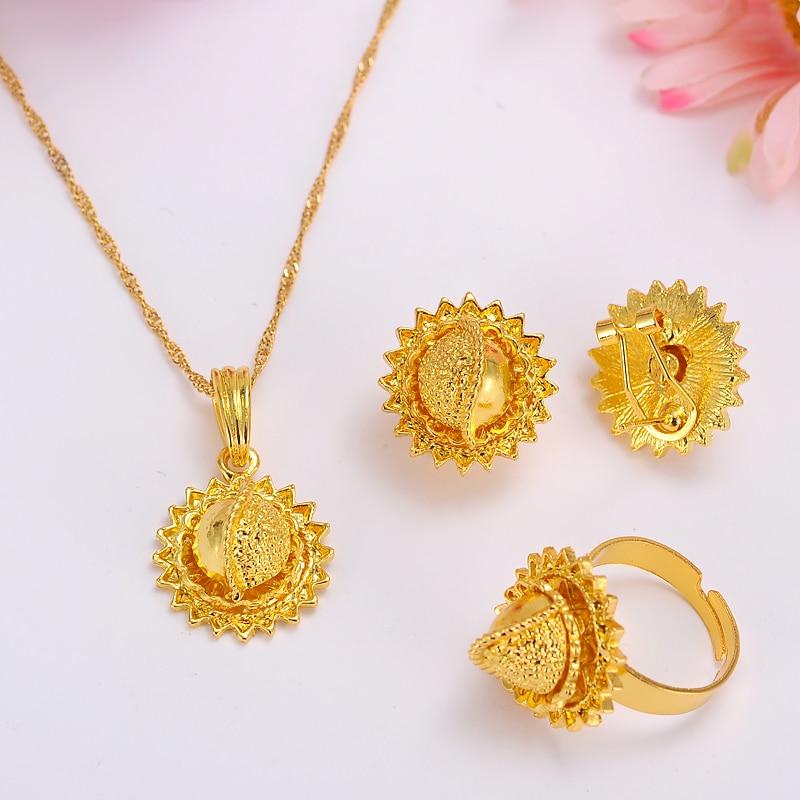 Комплект ювелирных изделий из золота в эфиопском стиле, серьги, кольцо с подвеской, KenyaTraditional, Африканский Свадебный подарок для женщин, для ...
