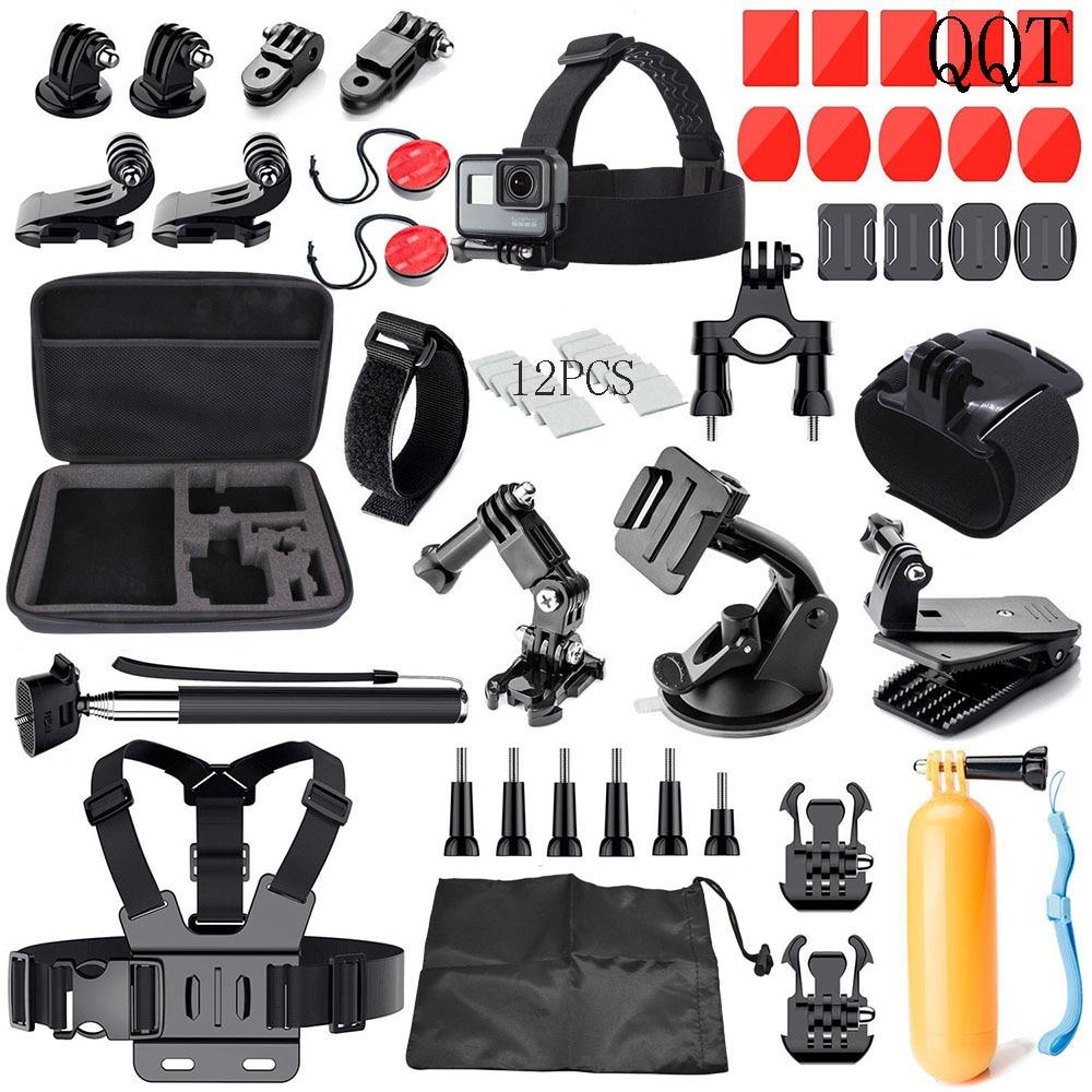QQT para GoPro accesorios Kit para GoPro Hero7 6 5 4 3 + 3 versión negra SJ4000 SJ5000 para Xiaomi Yi accesorios para Cámaras Deportivas Set