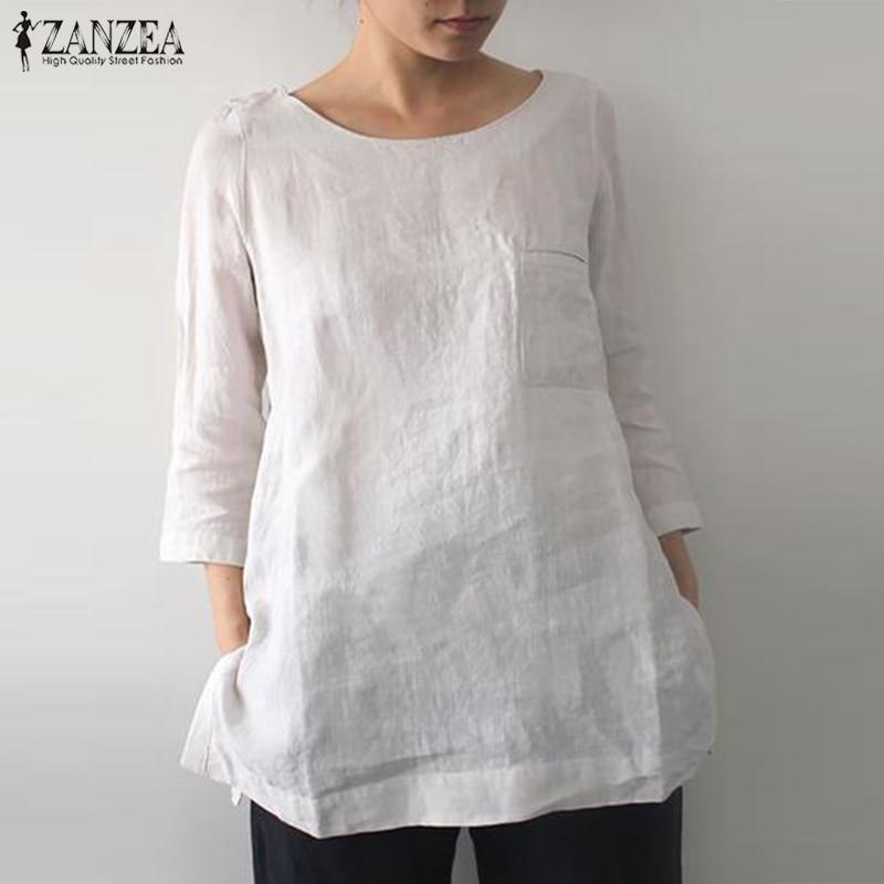 ZANZEA 2020 Vintage Casual Linen Tops Womens Summer Blouse Fashion O Neck 3/4 Sleeve Shirts Female Solid Blusas Plus Size Tunic