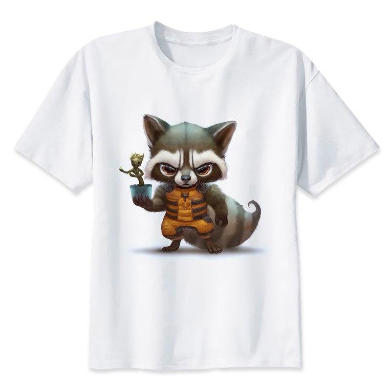 Camiseta rocket raccoon para hombre, camiseta a la moda, camiseta blanca con cuello redondo para hombre, Top Tees MMR467
