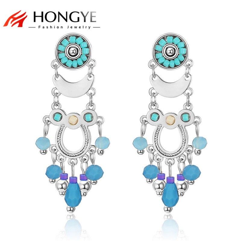 HONGYE nueva declaración de moda Brincos cuentas de resina coloridas borla pendientes colgantes Luna colgante mujeres colgantes étnicos joyería