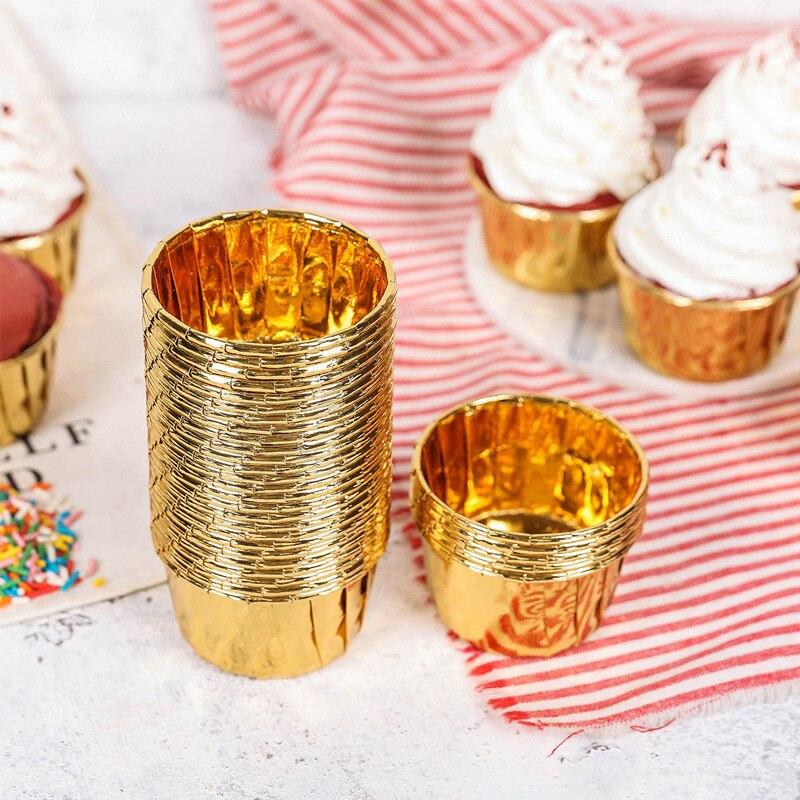 50 pçs/set cupcake forro cozimento copo de papel muffin caixas caixa de bolo copo ovo tartes bandeja molde do bolo ouro e prata ferramentas de decoração