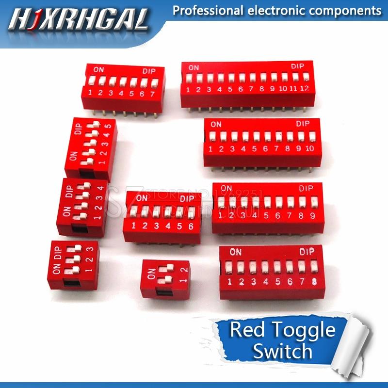 10PCS Rutsche Typ Schalter 1 2 3 4 5 6 7 8 9 10 12 Bit 2,54mm Position weg DIP Red Pitch Kippschalter Rot Snap Schalter hjxrhal