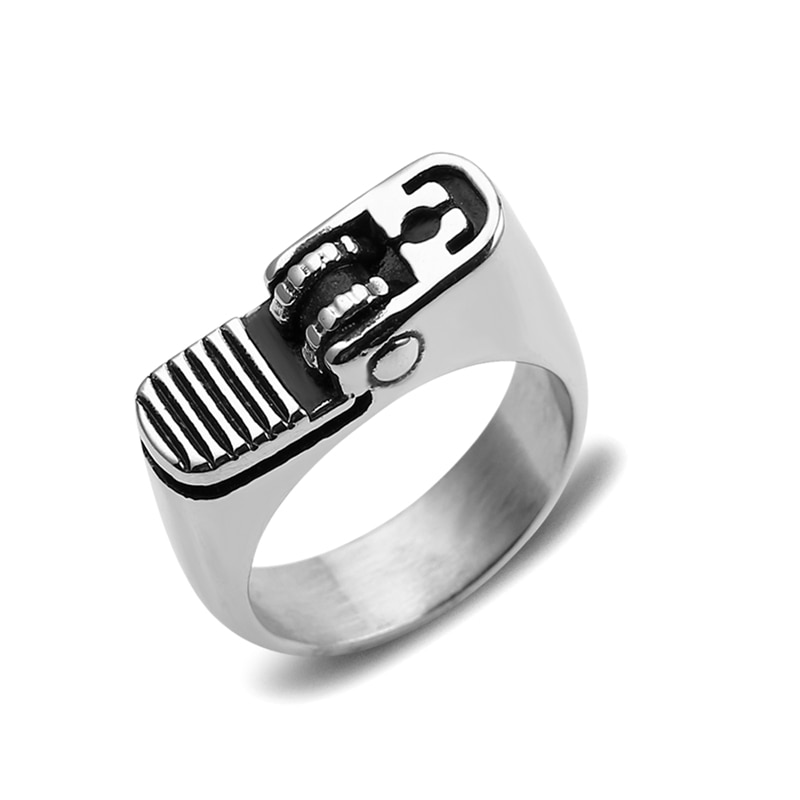 ¡Novedad de 2019! Anillo Chapado en plata pulida estilo genial para motorista, anillo para hombre, encendedor de cigarrillos, anillo moderno
