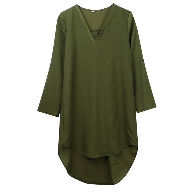 Mujer primavera otoño blusa protectora solar camisa de manga larga Tops y suelta Chiffon Mini vestido Casual Camisa para damas