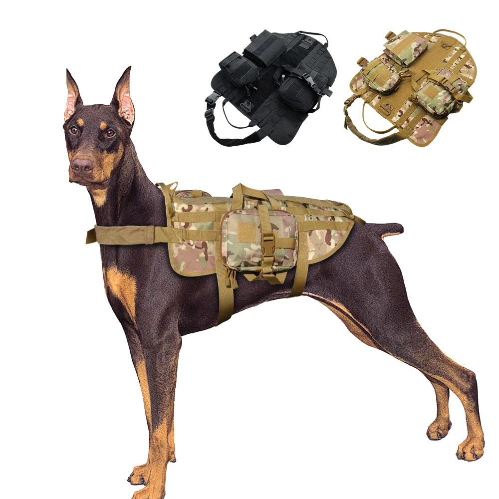 Arnés de perro táctico militar mascota K9 chaleco Molle de perro de trabajo Nylon ajustable para perros medianos grandes entrenamiento pastor alemán M-XL