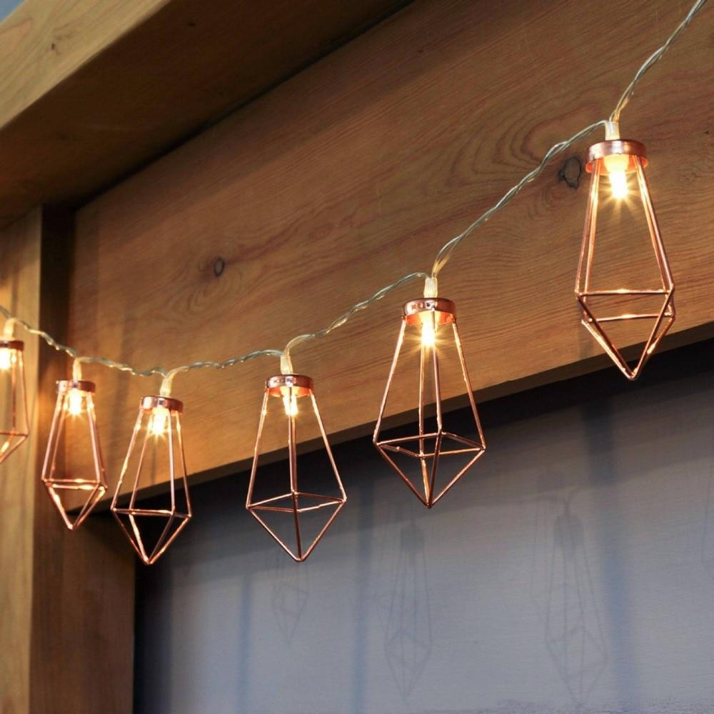 10 LED/20 Led, tira decorativa de luces LED de diamante, cadena de luces de Hada de oro rosa para fiesta de Navidad, luces Led para dormitorio o boda