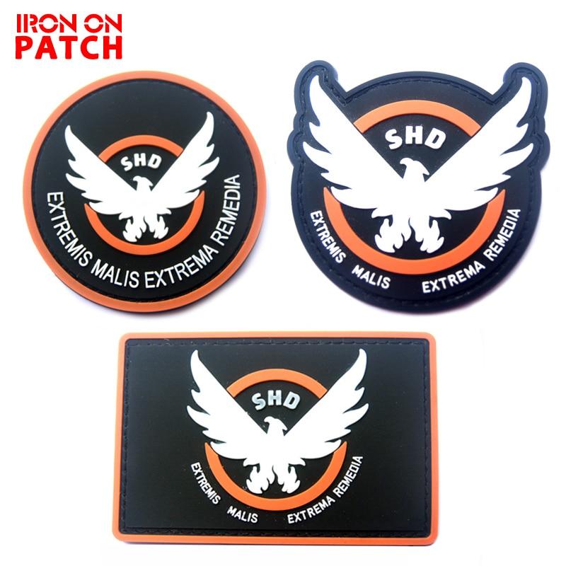 Juego Airsoft Cosplay parche de PVC la división SHD alas fuera insignia de moral brazalete militar caucho táctico insignias Drop Shipping