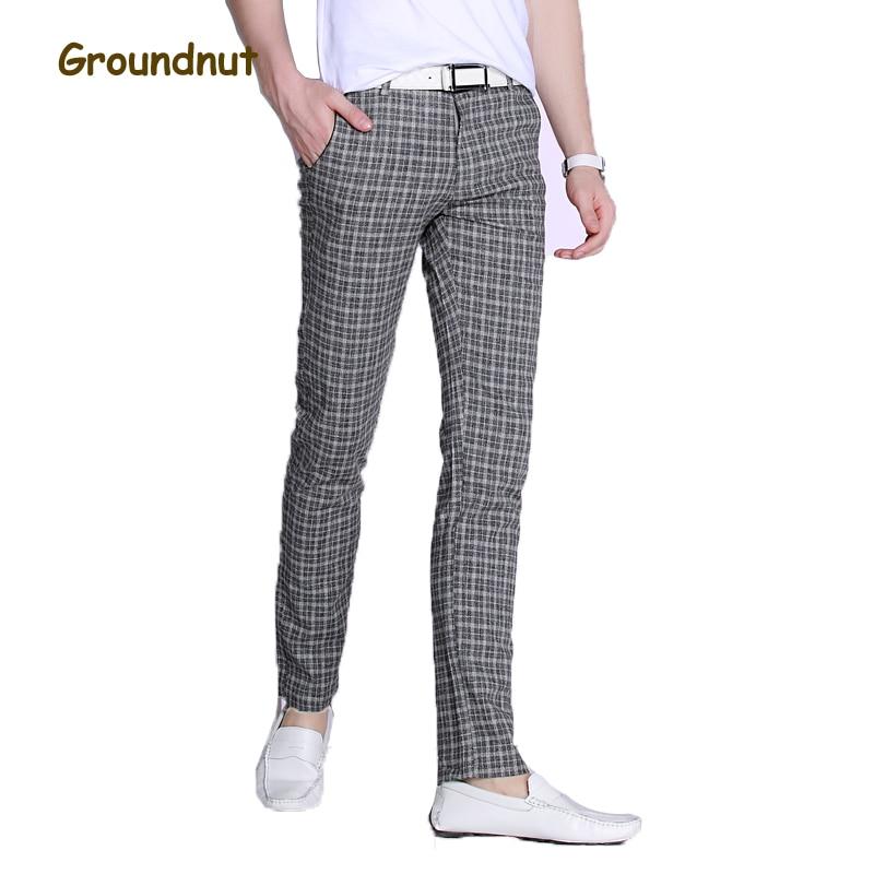 Groundnut marca Good Stretch Plaid pantalones casuales hombres pantalones largos Slim Fit recto lápiz pantalones 2019 nueva llegada