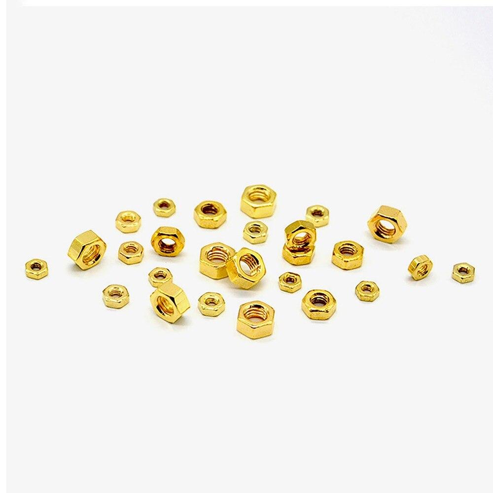 10/30/50 pces m2 m2.5 m3 m4 m5 titânio chapeamento dourado encanta porcas porca hexágono para parafusos & parafusos métricos