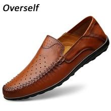 Handmade verão Mocassins de Barco Sapatos Para Homens de Couro Genuíno Moda masculina Brown Calçados Casuais Slip On Plus Size Zapatos hombre